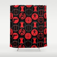 black widow Shower Curtains featuring Black Widow  by Page394