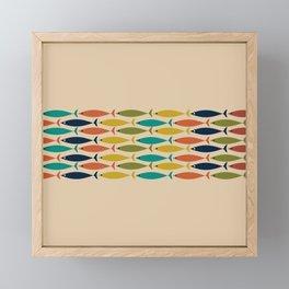 Midcentury Modern Multicolor Fish Stripe Pattern in Olive, Mustard, Orange, Teal, Beige Framed Mini Art Print