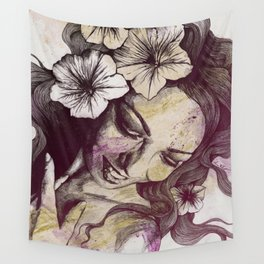 In The Year Of Our Lord: Wine (smiling lady with petunias) Wall Tapestry