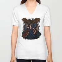 nouveau V-neck T-shirts featuring Elizabeth Nouveau by Karen Hallion Illustrations