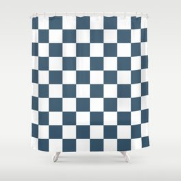 Dusky Blue Checkers Pattern Shower Curtain