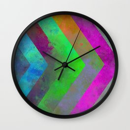 Textured Direction - Abstract, multi coloured, geometric painting Wall Clock