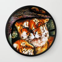 persian Wall Clocks featuring PERSIAN TIGER by ShekariArt