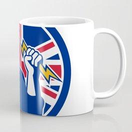 British Power Lineman Union Jack Flag Icon Coffee Mug