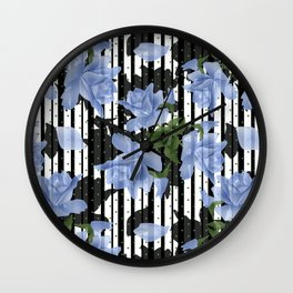 Blue roses on a black striped background. Wall Clock