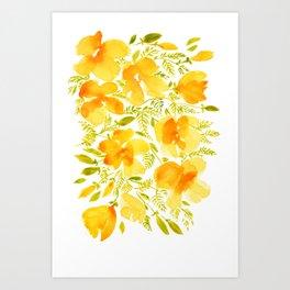 Watercolor California poppies (Quad set, #4) Art Print