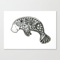 manatee Canvas Prints featuring Manatee by Casey Virata