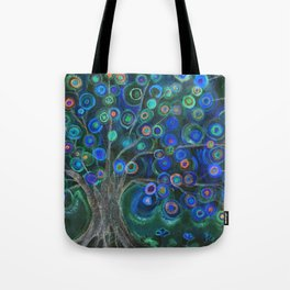 Imagine lollipops growing on a tree at night Tote Bag