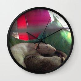 Rat cuddles Wall Clock