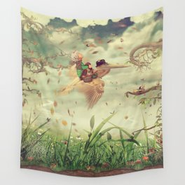 The little boy and brown pelican fly in the sky Wall Tapestry