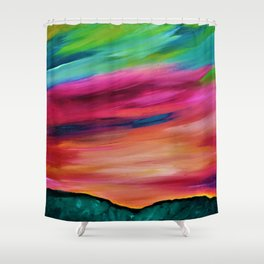 ROSY SKY OVER THE HILLS Shower Curtain