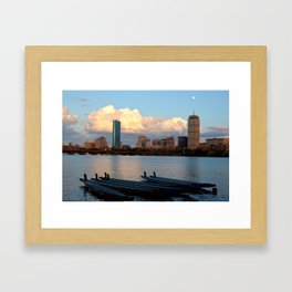 Moon over the the Prudential on the Charles River Framed Art Print