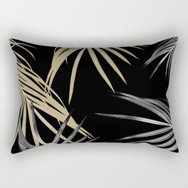 Gold Gray Palm Leaves Dream #1 #tropical #decor #art #society6 Rectangular Pillow
