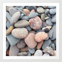 Watercolor Rock, Pebbles 05, Cape Breton, Nova Scotia, Canada, No Worries Here Art Print