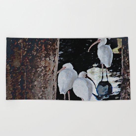 Ibises Under a Bridge (revamped) Beach Towel