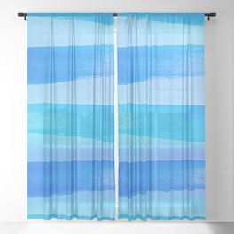 Atlantic Ocean - Minimal Stripes And Layers Sheer Curtain