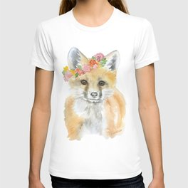 Fox Floral Watercolor Painting T-shirt