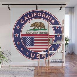California, California t-shirt, California sticker, circle, California flag, white bg Wall Mural