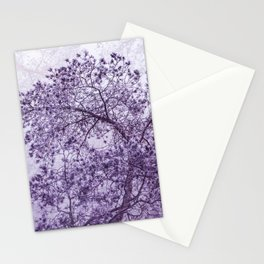Beautiful Pine Tree Silhouette Purple Color #decor #society6 #buyart Stationery Cards
