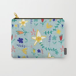 Floral The Tortoise and the Hare is one of Aesop Fables green Carry-All Pouch