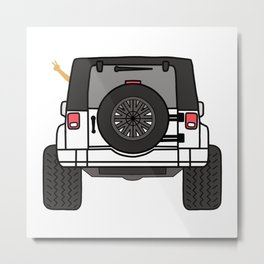 Jeep Wave Back View - White Jeep Metal Print