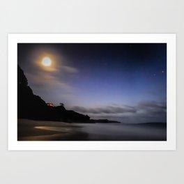 Moon over Ana-ananui beach Art Print