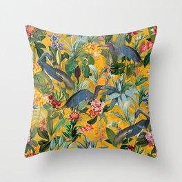 Vintage & Shabby Chic - Sunny Tropical Garden Blue Heron Throw Pillow