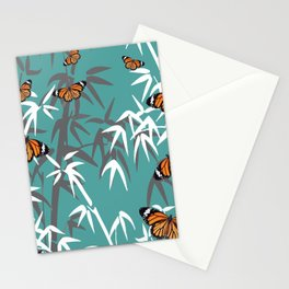 Orange Butterflies between Bamboo leaves turquoise #society6 Stationery Cards