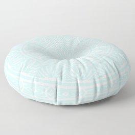 Light Sky Blue Aqua Simple Simplistic Mandala Design Ethnic Tribal Pattern Floor Pillow