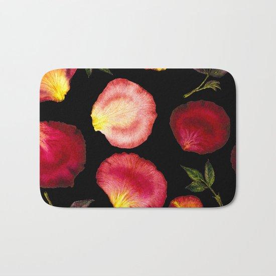 Rose Petal Pattern on Black 01 Bath Mat