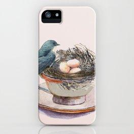 Bird nest in a teacup iPhone Case