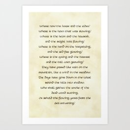 Lament of the Rohirrim Art Print