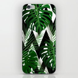 Geometrical green black white tropical monster leaves iPhone Skin