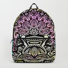 DETAILED CHARCOAL MANDALA (BLACK AND WHITE) WITH COLOR (PINK YELLOW TEAL) Backpack