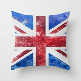 Union Jack Great Britain Flag Grunge Throw Pillow