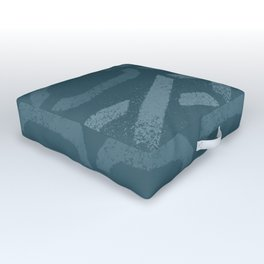 Shapes Of Love - Teal Bold Pattern Outdoor Floor Cushion