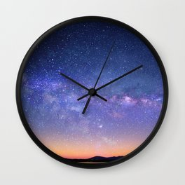 Galaxy over the Mountains Wall Clock