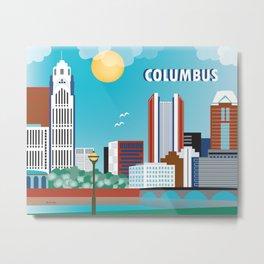 Columbus, Ohio - Skyline Illustration by Loose Petals Metal Print