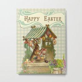 Rabbit Selling Eggs - Happy Easter Metal Print