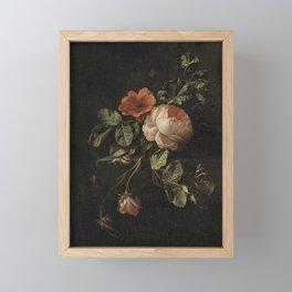 Botanical Rose And Snail Framed Mini Art Print