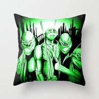 ninja turtles Throw Pillows featuring  Ninja Turtles by shannon's art space