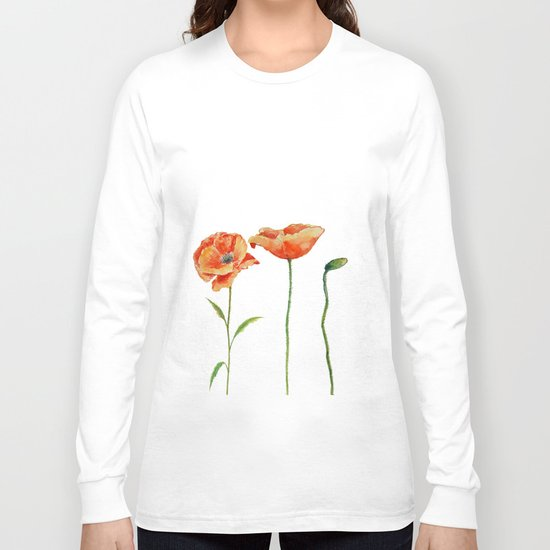 Simply poppy Vintage Watercolor illustration on white background on #Society6 Long Sleeve T-shirt