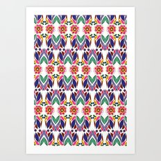 Gypsy Floral on White Art Print