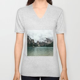 Lake Braies on a Cloudy Summer Day Unisex V-Neck