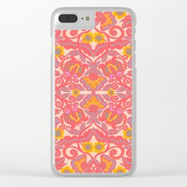 Pink Vines and Folk Art Flowers Patterns Clear iPhone Case