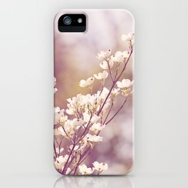 Pink White Spring Floral Photography, Dogwood Tree Blossoms, Lavender Flower Branches iPhone Case