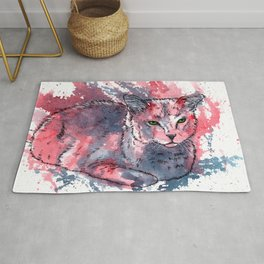 Cat acrylic painting, animal abstract portrait Rug