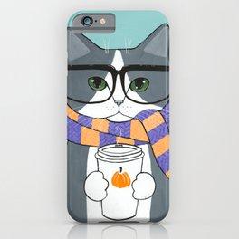 Grey Tuxedo Autumn Coffee Cat iPhone Case