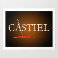 castiel Art Prints featuring Castiel by Manny Peters Art & Design