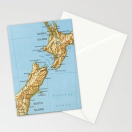 Vintage Map of New Zealand (1971) Stationery Cards